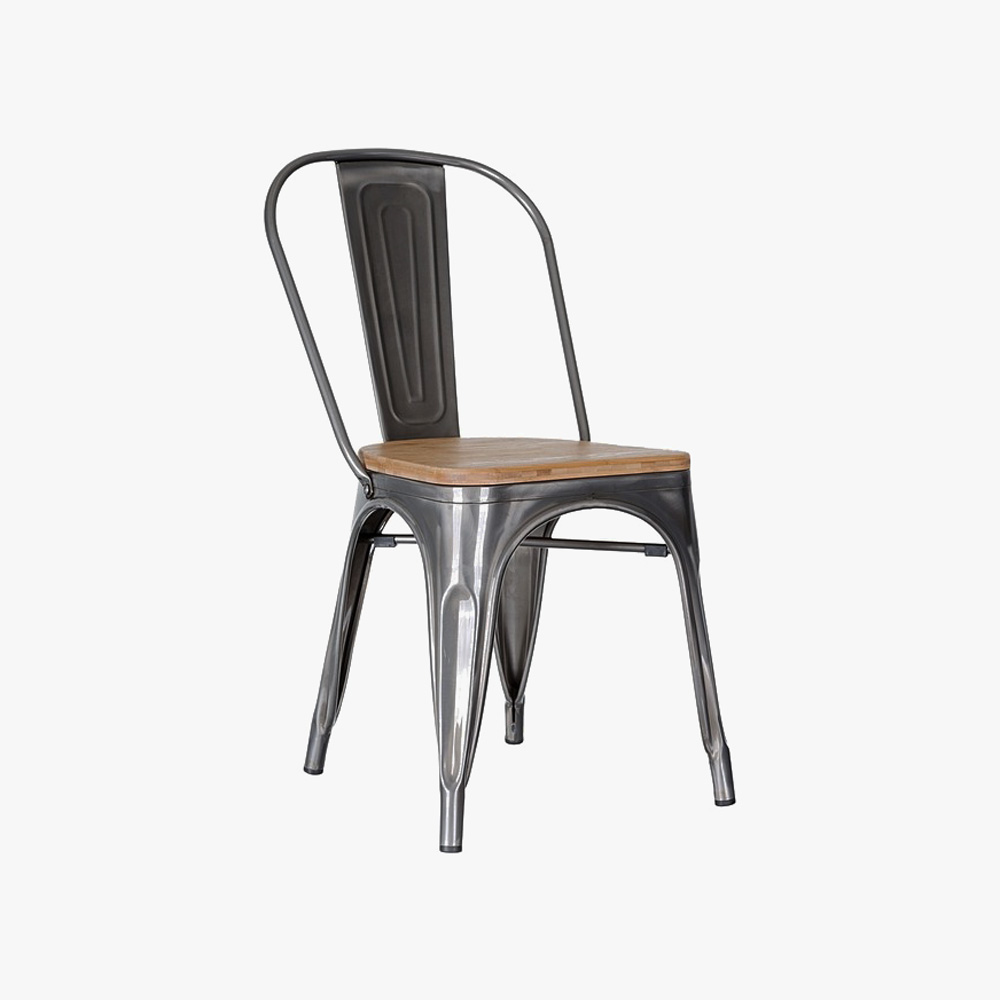 Replica tolix high back dining chair with timber seat u3 for Tolix stuhl replik