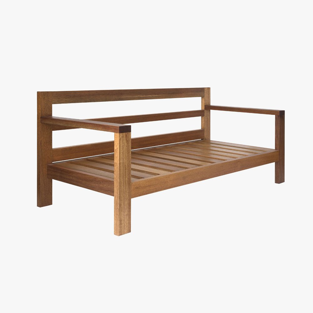 Slatted Patio Bench With Cushion U3 Shop
